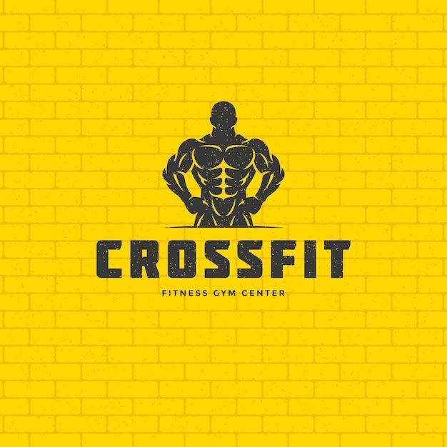 Bodybuilder Homme Logo Ou Insigne Illustration Silhouette De Symbole De Musculation Masculin Vecteur Premium