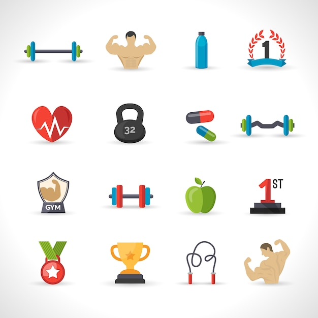 Bodybuilding icons set Vecteur gratuit