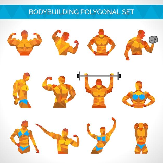Bodybuilding polygonal icons set Vecteur gratuit