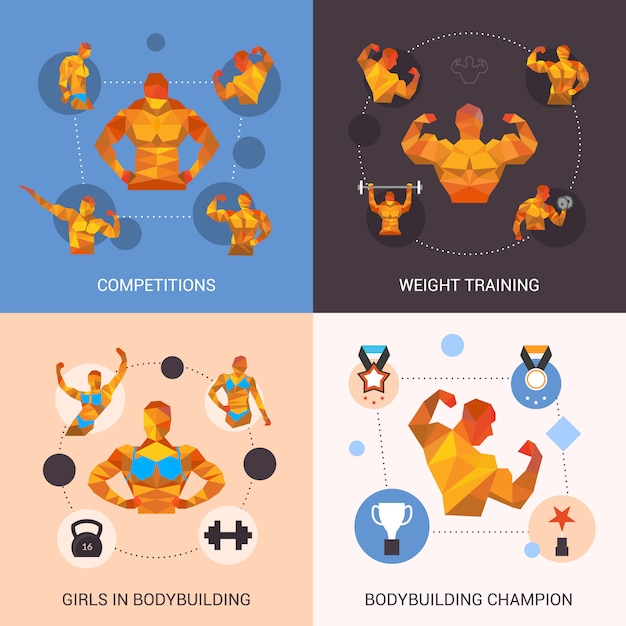 Bodybuilding polygonal set Vecteur gratuit