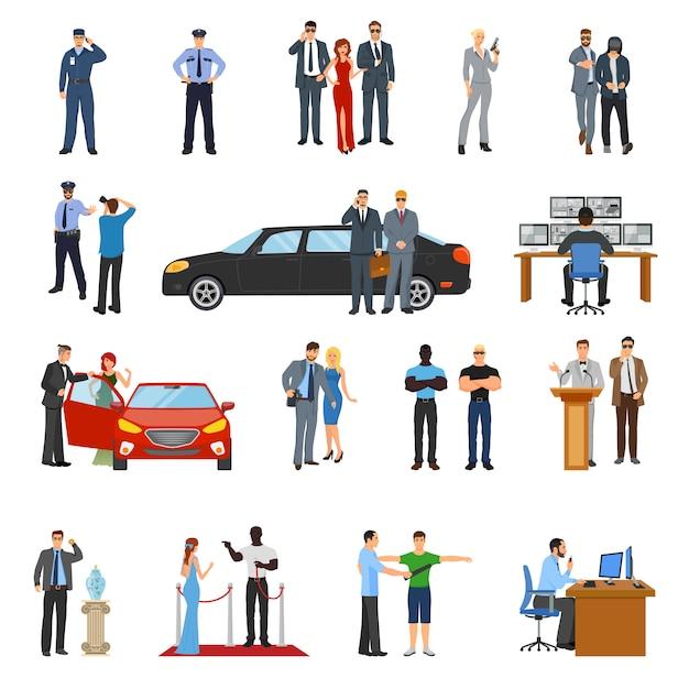 Bodyguard icons set Vecteur gratuit