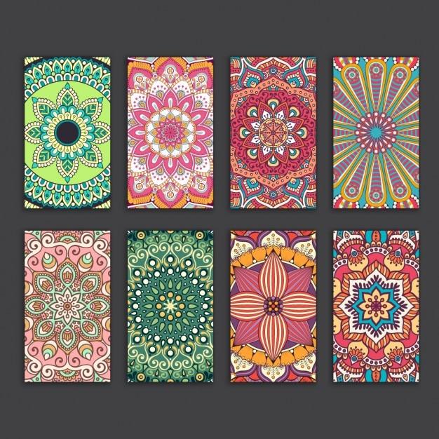 Boho Cartes De Style Collection Vecteur gratuit