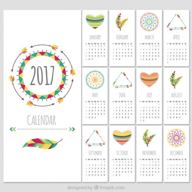 Boho style 2017 calendar template free vector