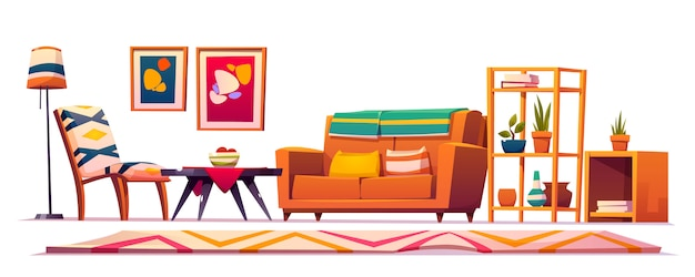 Boho, Intérieur De Salon Bohème, Style Hipster Vecteur gratuit