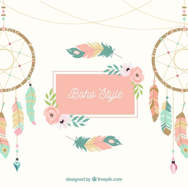 Boho style fond avec un design plat Vecteur gratuit