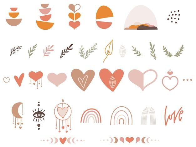 Boho Valentine Clipart Sertie De Coeurs Vecteur Premium