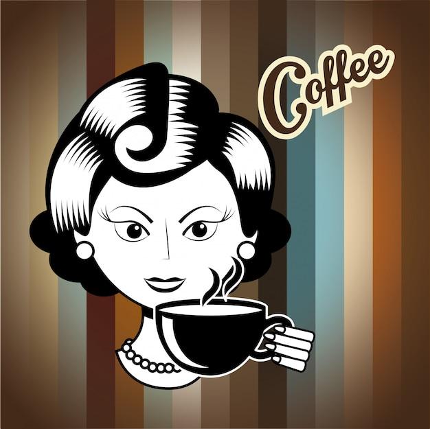 Boire Du Café Vecteur Premium