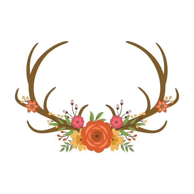 Bois de cerf floral Vecteur Premium