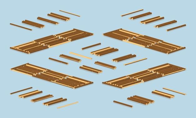 Bois isométrique 3d lowpoly flottant sur l'eau Vecteur Premium