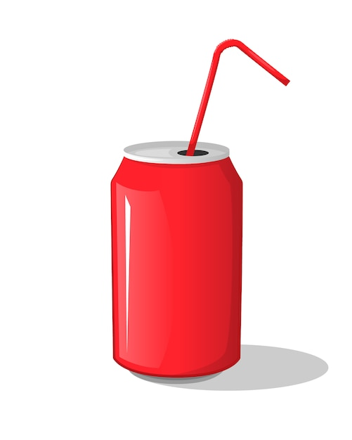Boisson De Cola Dans Un Gobelet De Banque En Métal Rouge Avec Des Bâtons Vecteur Premium