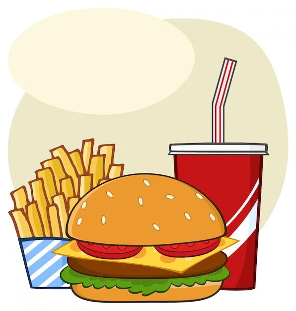 Boisson De Hamburger De Restauration Rapide Et Dessin De Dessin Anime Simple Dessin De Frites Vecteur Premium