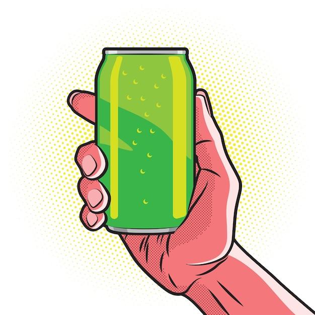 Boisson Verte Fraîche Peut Dans La Main Rouge Chaude Vecteur Premium