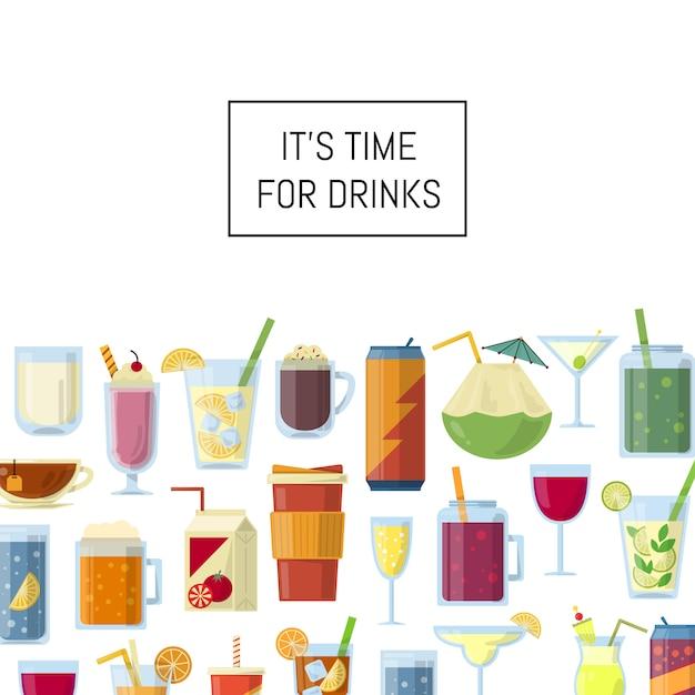 Boissons alcoolisées dans des verres et des bouteilles et avec fond Vecteur Premium