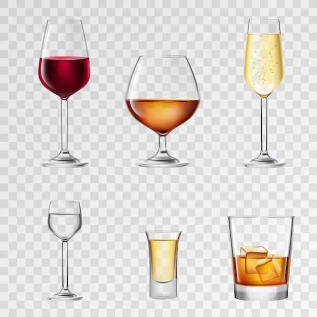 Boissons alcoolisées transparentes Vecteur gratuit