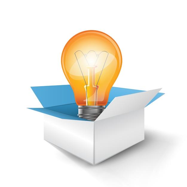Boîte et ampoule Vecteur Premium