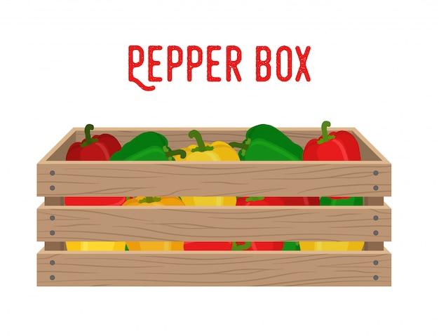 Boîte au poivron Vecteur Premium