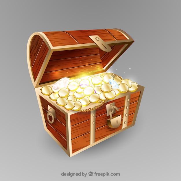 Boîte aux trésors dans un style réaliste Vecteur gratuit