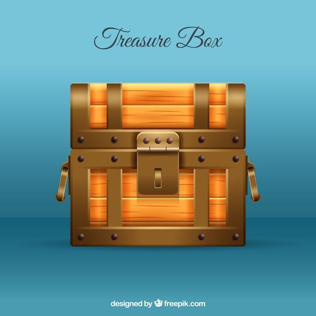 Boîte aux trésors fermée avec un style réaliste Vecteur gratuit