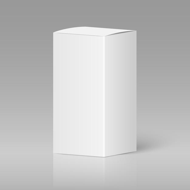 Boîte blanche blanche réaliste Vecteur Premium