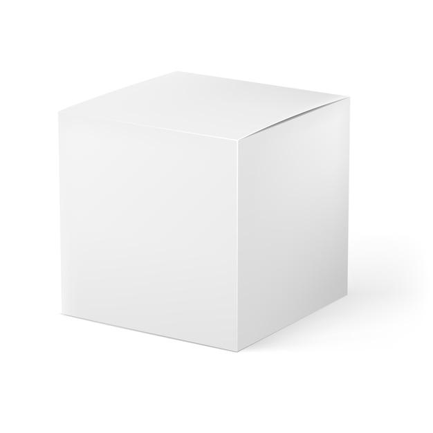 Boîte blanche isolée réaliste Vecteur Premium