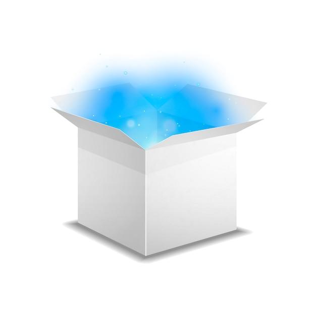 Boîte blanche avec lumière bleue à l'intérieur Vecteur Premium