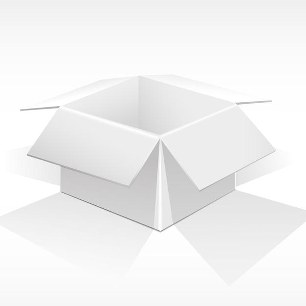 Boîte blanche ouverte pour les colis, les cadeaux. Vecteur Premium