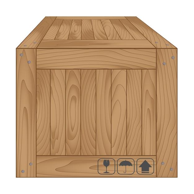 Boîte en bois marron sur blanc Vecteur Premium