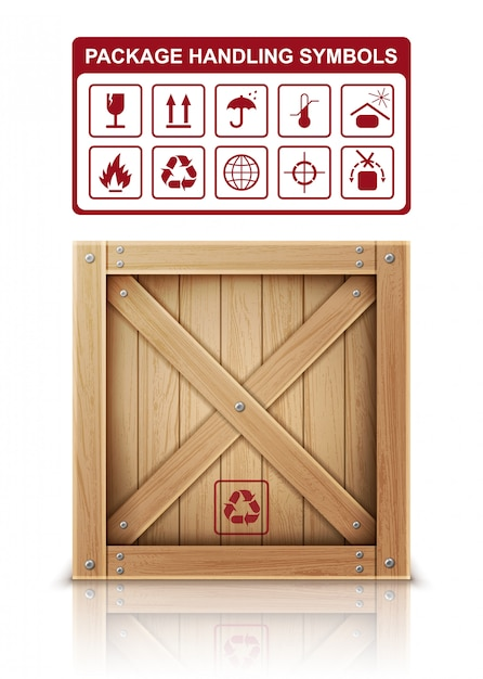 Boîte En Bois Et Symboles D'emballage Vecteur gratuit