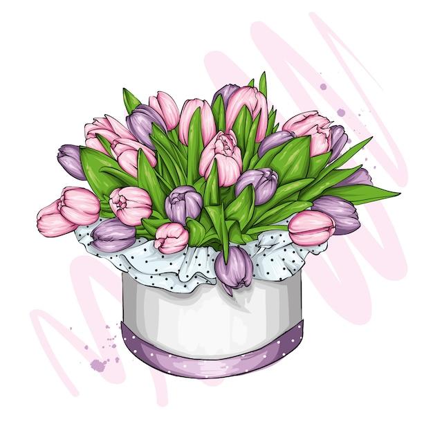 Boîte Avec Un Bouquet De Tulipes. Printemps Et Fleurs. 8 Mars. Illustration Vectorielle Pour Carte Postale Ou Affiche, Impression. Vecteur Premium