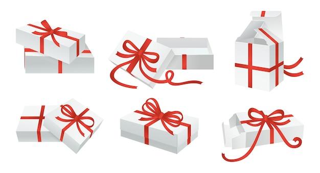 Boîte Cadeau Blanche Arcs Ensemble Conteneur Avec Décoration De Ruban Rouge Diverses Boîtes En Carton Collection De Modèles Conception De Carton Vierge Célébration D'anniversaire Fête De Noël Vecteur Premium