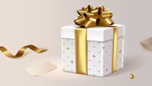 Boîte Cadeau Blanche, Fermée. Clip Art Illustration Pour Le Site. Vecteur Premium