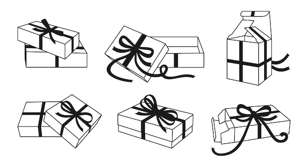 Boîte-cadeau Avec Ruban Arcs Ligne Noire Ensemble Diverses Boîtes De Contour Collection De Modèles Ruban De Conteneur Vecteur Premium