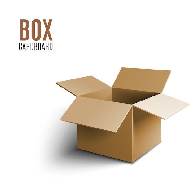 Boîte en carton brun Vecteur Premium