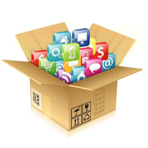 Boîte en carton avec ensemble d'icônes Vecteur Premium