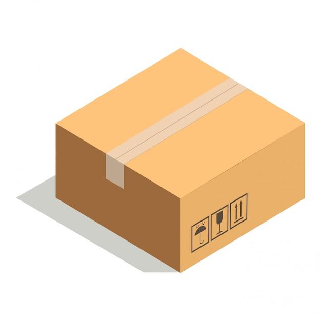 Boîte en carton fermée isolé sur blanc avec du ruban adhésif Vecteur Premium