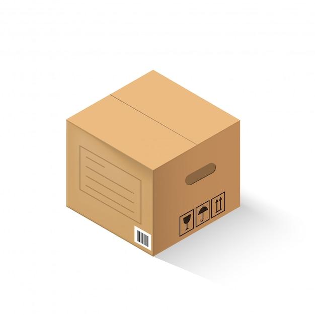 Boîte en carton fermée isolée sur fond blanc. Vecteur Premium