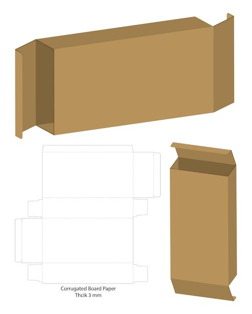 Boîte De Carton Ondulé Découpé Vecteur Premium
