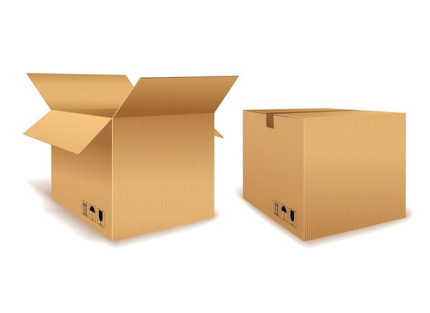 Une Boîte En Carton Ouverte Et Une Boîte Fermée Pour L'emballage Vecteur Premium