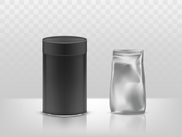 Boîte en carton rond et papier d'aluminium en carton noir, emballage scellé en plastique, contenant Vecteur gratuit