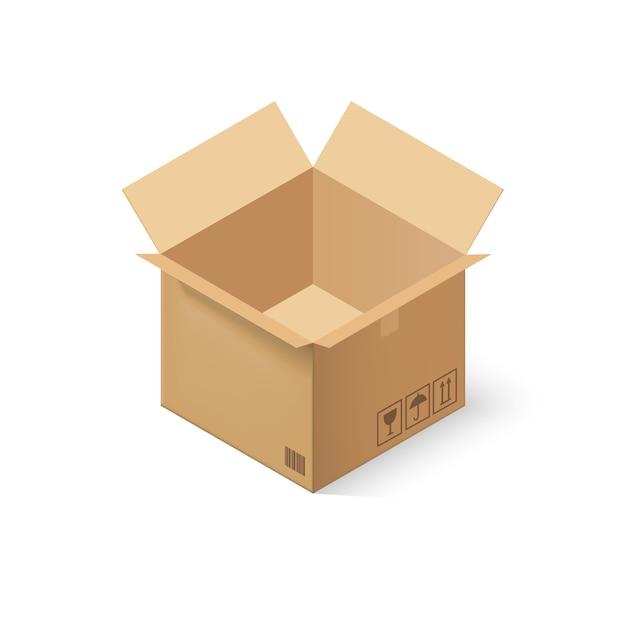 Boîte en carton vide ouverte Vecteur Premium