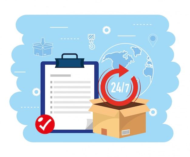 Boîte de colis avec check list au service de livraison Vecteur Premium