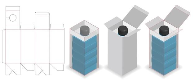 Boîte cosmétique avec tube de bouteille cou lock dieline Vecteur Premium
