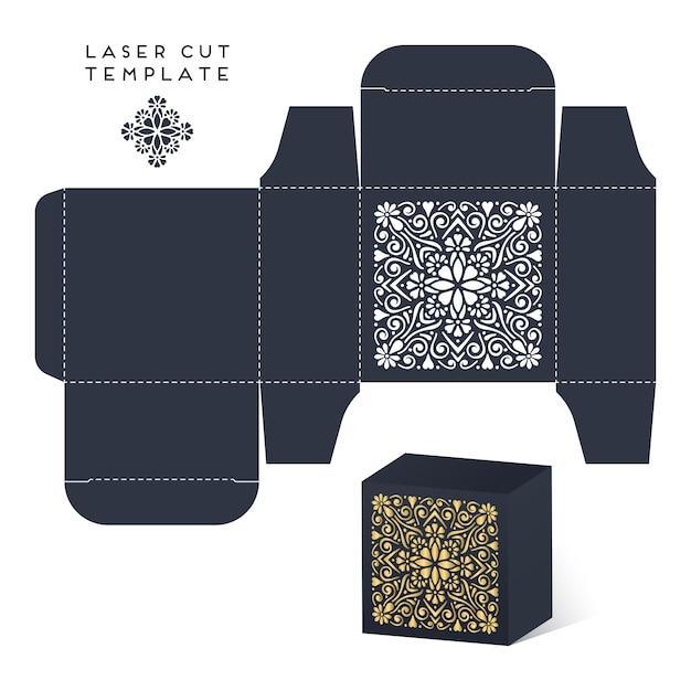 Boîte découpée au laser pour mariage avec mandala Vecteur gratuit