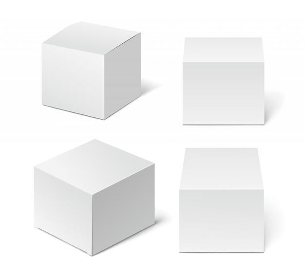Boîte d'emballage blanche haute en carton Vecteur Premium