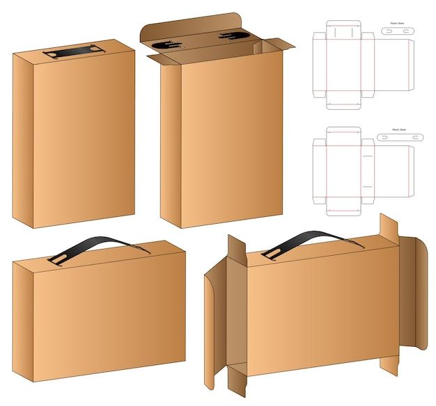 Boîte D'emballage De Conception De Modèle Découpé. 3d Vecteur Premium