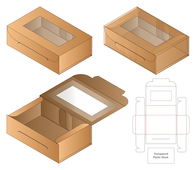 Boîte D'emballage De Conception De Modèle Découpé. Vecteur Premium