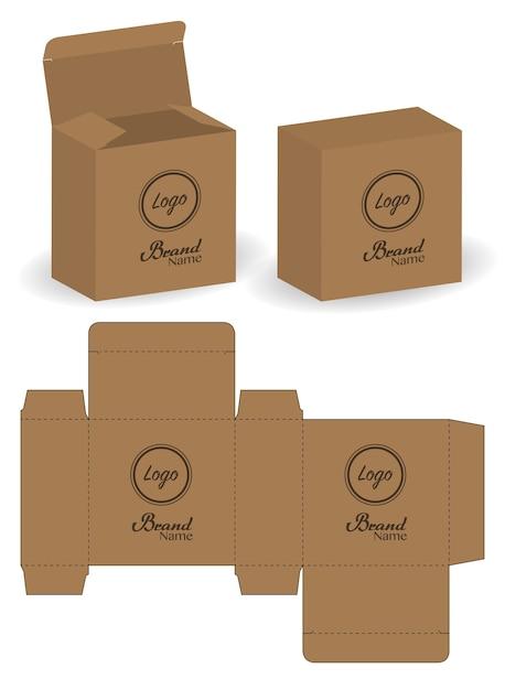 Boîte D'emballage Die Cut Avec 3d Maquette Vecteur Premium