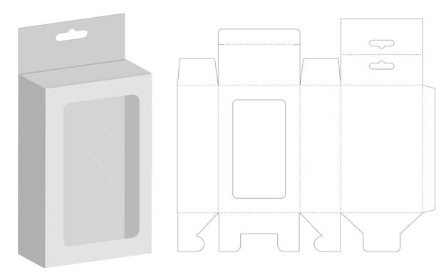 Boîte d'emballage die cut modèle maquette 3d Vecteur Premium