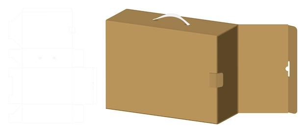 Boîte D'emballage Maquette 3d Avec Modèle Dieline Vecteur Premium