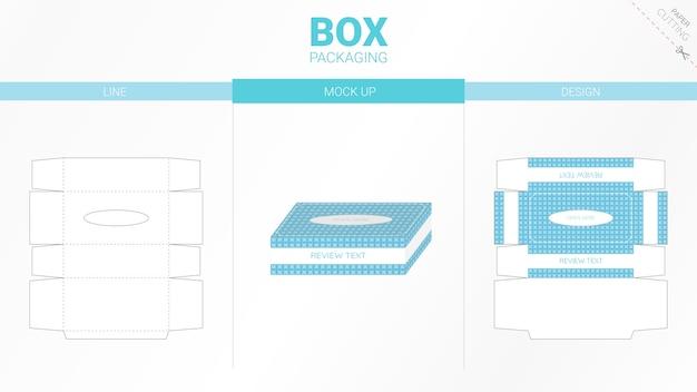Boîte D'emballage En Tissu Et Gabarit Découpé Vecteur Premium